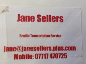 Jane Sellers Business card with Braille